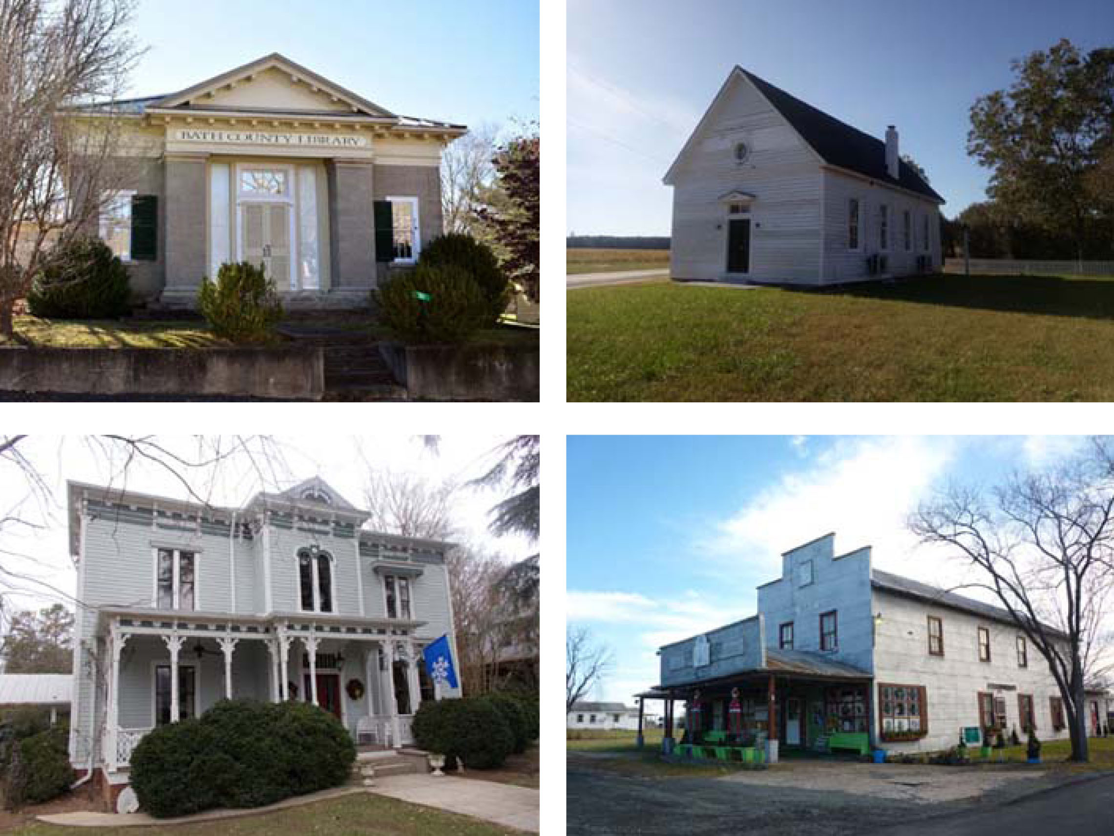 four photos of historic buildings