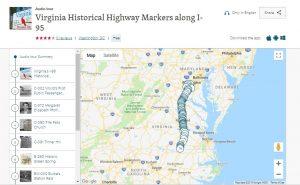 Screenshot of the IZI Travel App Virginia Historical Highway Markers along I-95 audio tour