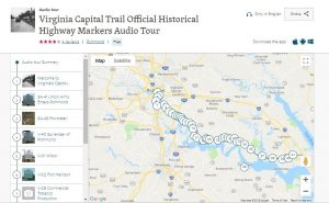 Screenshot of the IZI Travel app Capital Trail Highway Marker Audio Tour