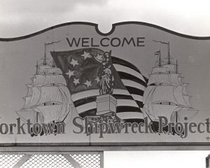 Image of sign for Yorktown Shipwreck Project