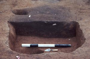 A dark brown pit feature stain surrounded by lighter brown clay soil.