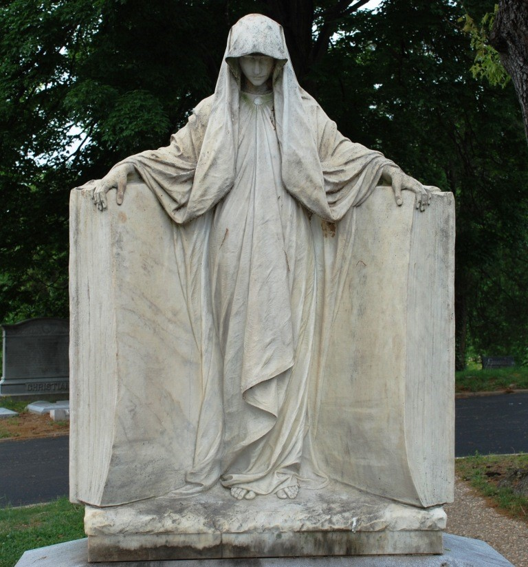 Photo of a mourning figure sculpture from Hollywood Cemetery, Richmond, VA.