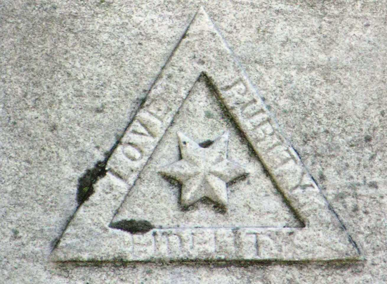 Triangle motif carved in marble.