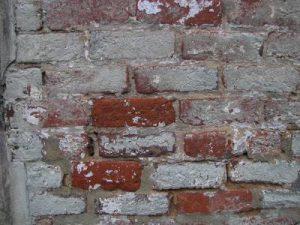 Bricks covered in white salt deposits.
