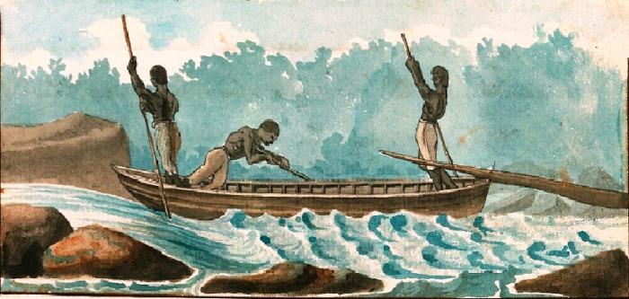 Three men crew on a bateau