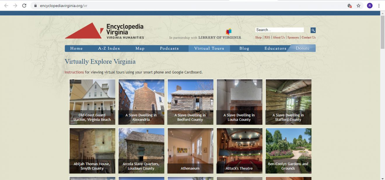 Screenshot of Encyclopedia Virginia website