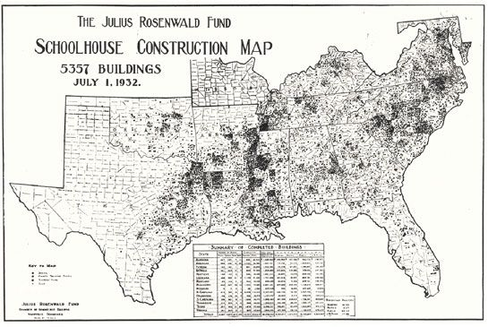 Map showing distribution of more than 5,000 Rosenwald schools in the South.