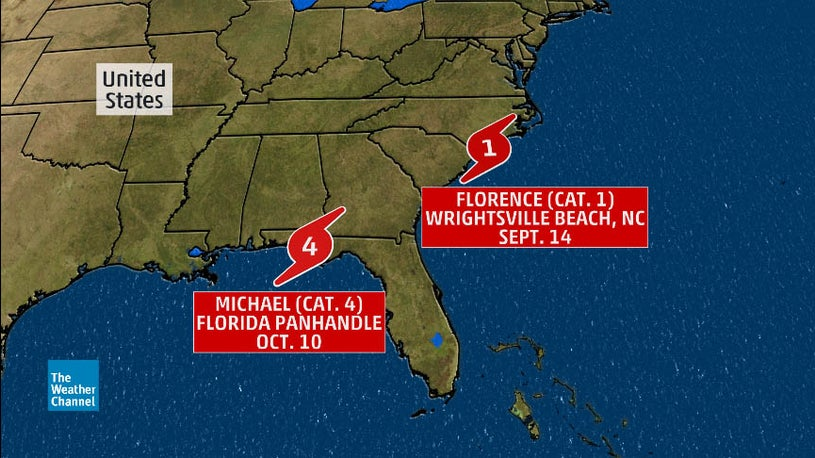 Map showing positions of Hurricanes Michael and Florence in 2018