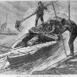 Ca. 1879 illustration of men harvesting oysters during a storm.