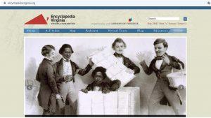 Screenshot of Encyclopedia Virginia homepage