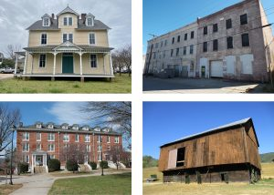 Images of four buildings that will be considered for listing on the registers