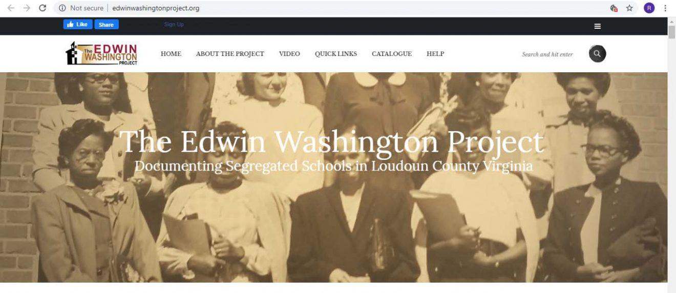 Screenshot of website for Edwin Washington Project