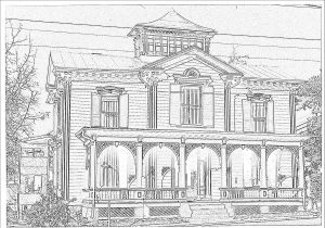 Line drawing of historical house