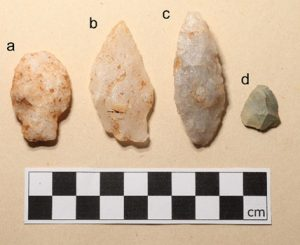 Shows four lithic points of varying shape and size