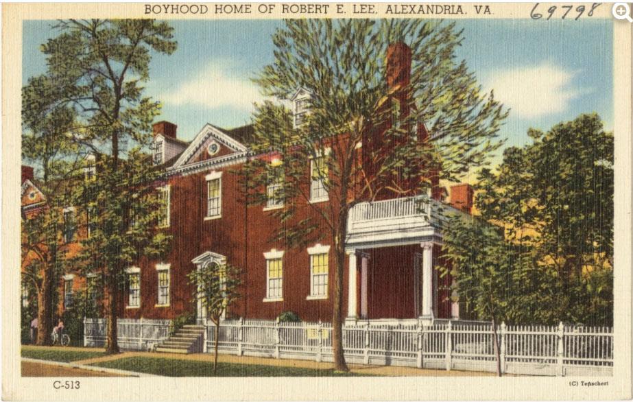Robert e Lee boyhood home postcard
