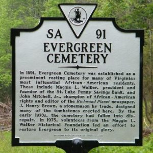 State Historical marker for Evergreen Cemetery