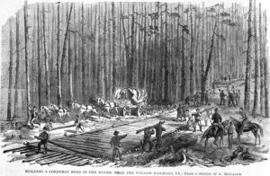 Illustration of soldiers building corduroy road