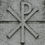 """Chi Rho. A symbol combining the Greek sounds """"Ch"""" and """"R"""", shorthand for """"Christos""""."""