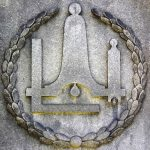 FREEMASONS: symbols include a carpenter's square, level, compass, five- and six-pointed stars, pyramid, open eye, wings.