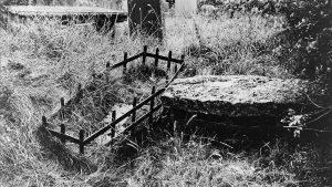 Mortsafe in graveyard
