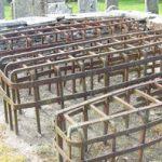 Mortsafes in graveyard