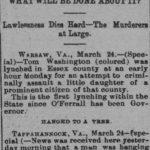 Thomas Washington lynching in the Richmond Planet