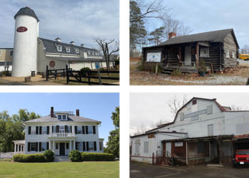 Four thumbnail images of buildings.