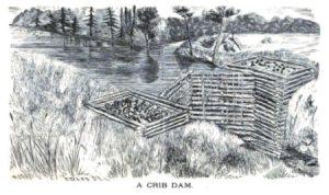 Drawing of crib dam.